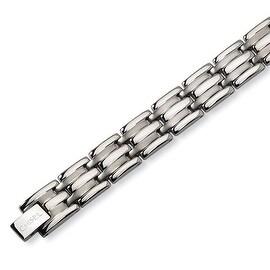 Chisel Brushed and Polished Titanium Bracelet - 8.5 Inches