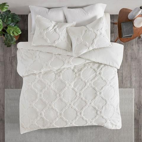 Madison Park Nollie Tufted Cotton Chenille Geometric Duvet Cover Set