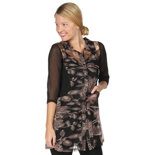 Women's Long Tunic Top - Mesh Sides and Sleeves Floral Print Shirt