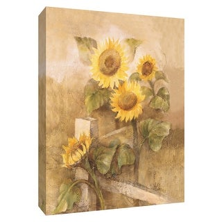 """PTM Images 9-154644  PTM Canvas Collection 10"""" x 8"""" - """"Sunflowers by the Fence II"""" Giclee Sunflowers Art Print on Canvas"""