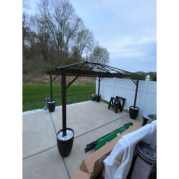 Shop Outsunny 12 X 10 Steel Hardtop Outdoor Gazebo With Curtains On Sale Overstock 17990797