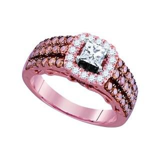 1 1/2Ctw Diamond 3/8Ct-Cpr Bridal Engagement Ring 14K Rose-Gold
