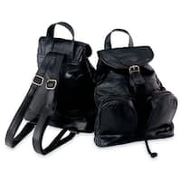 Maxam® Italian Mosaic Design Genuine Lambskin Leather Backpack/Purse
