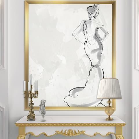 Designart 'Fancy Woman In Evening Dress' Fashion Framed Art Print