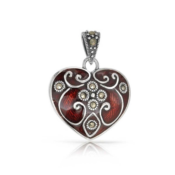 Bling jewelry red heart victorian style marcasite pendant 925 bling jewelry red heart victorian style marcasite pendant 925 silver aloadofball Choice Image