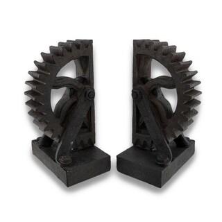 Steampunk Gear Wheel Cog Bookends Set of 2 - Black