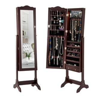 Gymax Mirrored Jewelry Cabinet Armoire Storage Organizer w/Drawer & Led Lights Brown