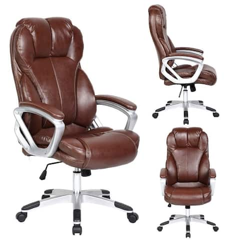 Brown Leather Ergonomic High Back Executive Office Chair Desk Boss Manager Tilt Work Professional