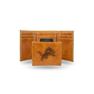 4 Brown NFL Detroit Lions Laser Engraved Trifold Wallet N A