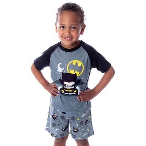 DC Comics Toddler Boys' Batman Pajamas Batmobile Night Riding Shirt and Shorts 2 Piece Superhero Pajama Set