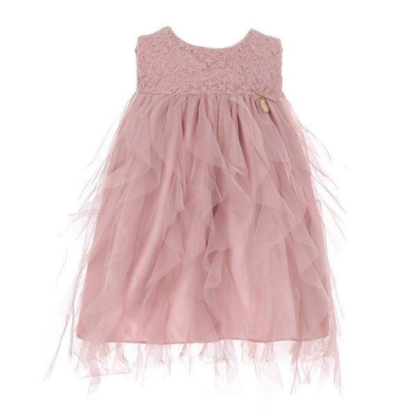 Baby Girls Rose Lace Top Tulle Waterfall Ruffle Flower Girl Dress