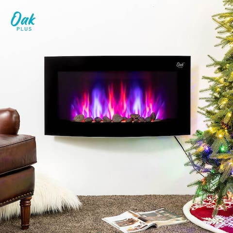 "Oak PLUS 35""L Modern Wall Mounted Electric Fireplace"