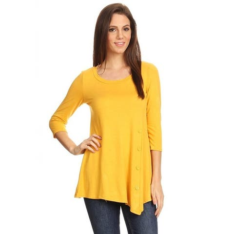 Women's Casual Solid Color Button Trim Tunic Top