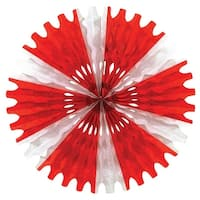 """Club Pack of 12 Red and White Tissue Fan Hanging Decorations 25"""""""