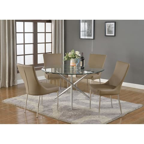 Somette Patty Round Dining Set with Brown Chairs