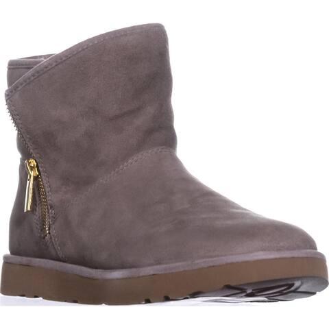 UGG Kip Sherling Lined Zipper Short Winter Boots, Clay