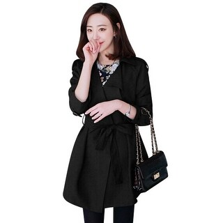 Ladies Buttonless Cape Style Self Tie Strap Leisure Trench Coat - Black