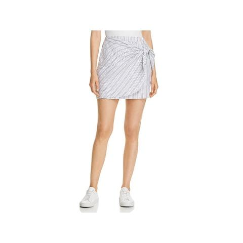 Three Dots Womens A-Line Skirt Linen Faux Wrap