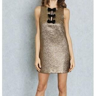Miss Selfridge NEW Gold Womens Size 10 Bow-Detail Shimmer Sheath Dress