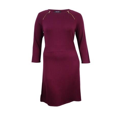 Nine West Women's Zip-Shoulder A-Line Sweater Dress