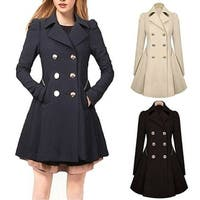Fashion Women Slim Fit Windbreaker Lapel Double Breasted Long Trench Coat Jacket