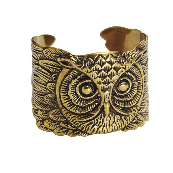 Women's Brass Owl Cuff Bracelet - Adjustable - bronze