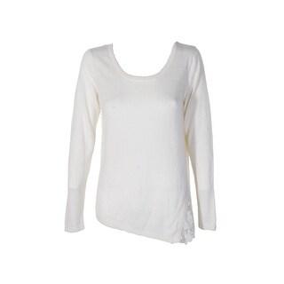 Kensie Ivory Lace-Trim Scoop Neck Sweater  M