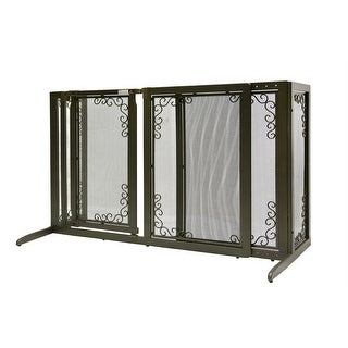 "Richell Deluxe Freestanding Mesh Pet Gate Brown 52.2"" - 69.1"" x 27"" x 36.2"""