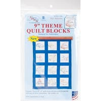 """Themed Stamped White Quilt Blocks 9""""X9"""" 12/Pkg-Toy Vehicles"""