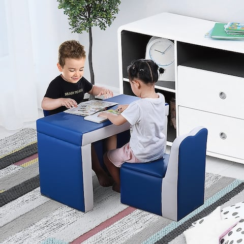 Qaba Kids Sofa 2-in-1 Multi-Functional Table Chair Set 2 Seat Couch Storage Box Soft Sturdy