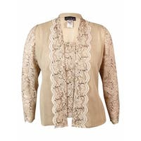 Alex Evenings Women's Sequined Lace Blouse Set - Beige
