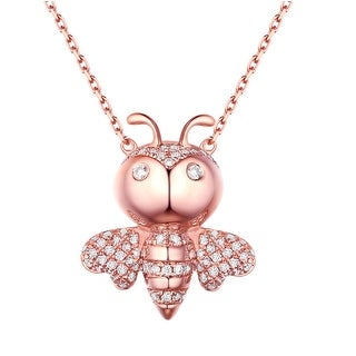 Prism Jewel 0.26Ct G-H/SI1 Natural Diamond Honey Bee Necklace with Chain - White