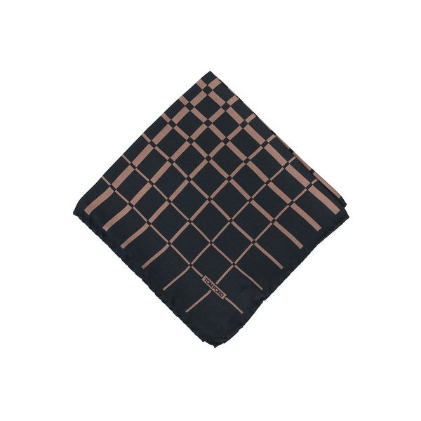 Tom Ford Mens Brown Abstract Checkered Pocket Square