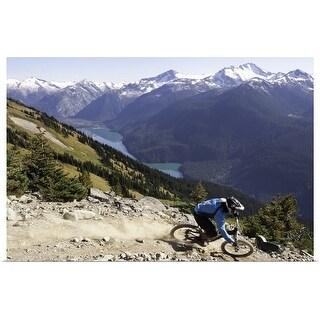"""Mountain biker riding on alpine trail"" Poster Print"