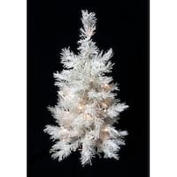 2' Pre-Lit Snow White Artificial Christmas Tree - Clear Lights
