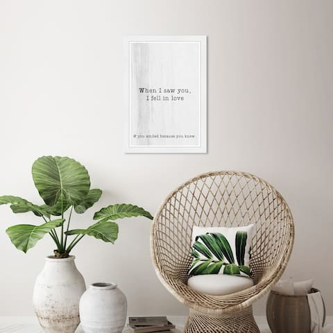 Wynwood Studio 'When I Saw You' Typography and Quotes Black Wall Art Framed Print