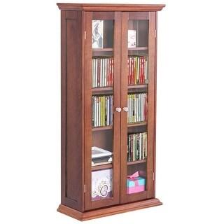 Costway 44.5'' Wood Media Storage Cabinet CD DVD Shelves Tower Glass Doors Walnut