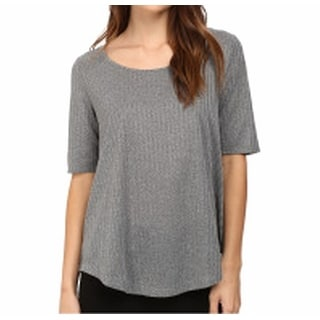 Catherine Malandrino NEW Gray Women's Size XL Ribbed Solid Knit Top