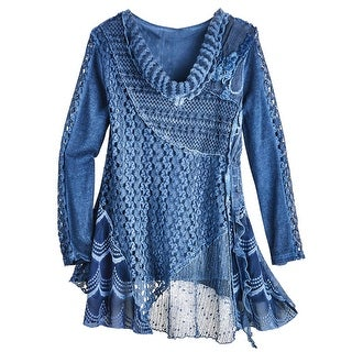 Women's Tunic Top - Knitted Lace Over Stretchy Tank - Long Sleeve Blouse