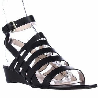 French Connection Winona Strappy Wedge Sandals - Black/Black