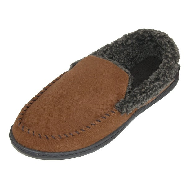 c516c5c69feb5 Dearfoams Men's Wide Width Suede Moccasin with Whipstitch Detail
