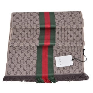 "Gucci Wool Silk Jacquard GG Guccissima Red Green Web Knitted Scarf Muffler - 71"" x 14"""