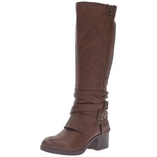 Madden Girl Womens Rate Riding Boots Faux Leather Buckle