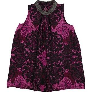 Alfani Womens Embellished Knit Blouse, pink, X-Small