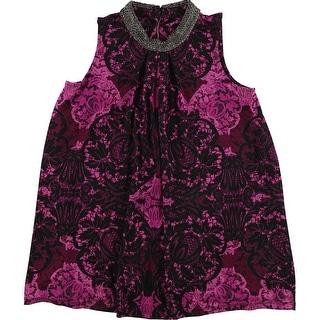 Alfani Womens Embellished Knit Blouse