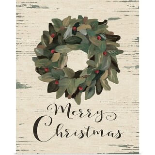 Jo Moulton Poster Print entitled Merry Christmas Wreath - multi-color