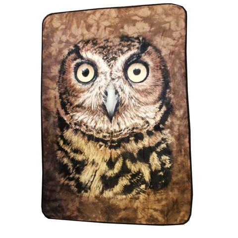 Owl Face 45x 60 Fleece Throw Blanket - Multi