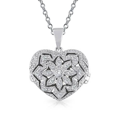 Vintage Style Heart Shape Floral Locket Pendant Filigree Cubic Zirconia CZ Necklace for Women Sterling Silver 18in Chain