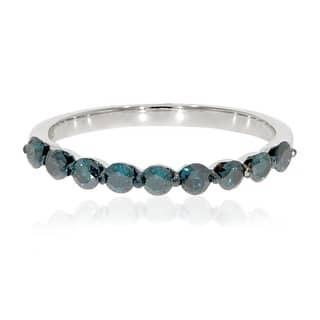 brand new 054 carat round brilliant cut blue diamond wedding band - Blue Diamond Wedding Ring