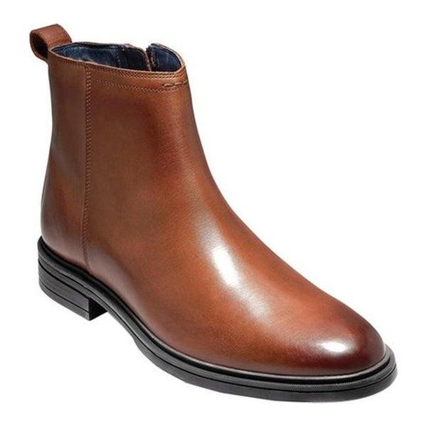 8012c11fbda Shop Cole Haan Men's Bernard Zip Ankle Boot Woodbury/Black Leather ...